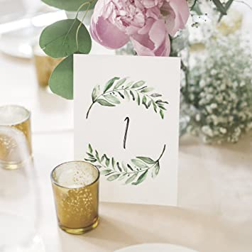 Amazon greenery wedding table numbers centerpiece decorations greenery wedding table numbers centerpiece decorations double sided 4x6 calligraphy design numbers 1 junglespirit Image collections