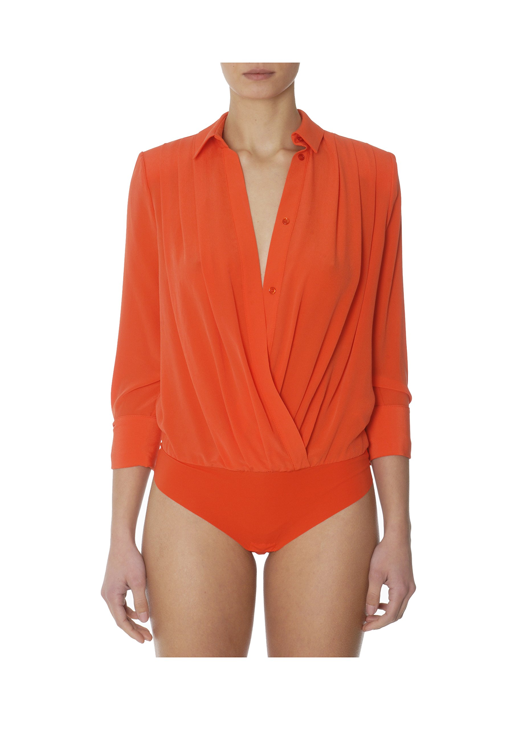 ELISABETTA FRANCHI Women's Bo7302914 Orange Silk Bodysuit