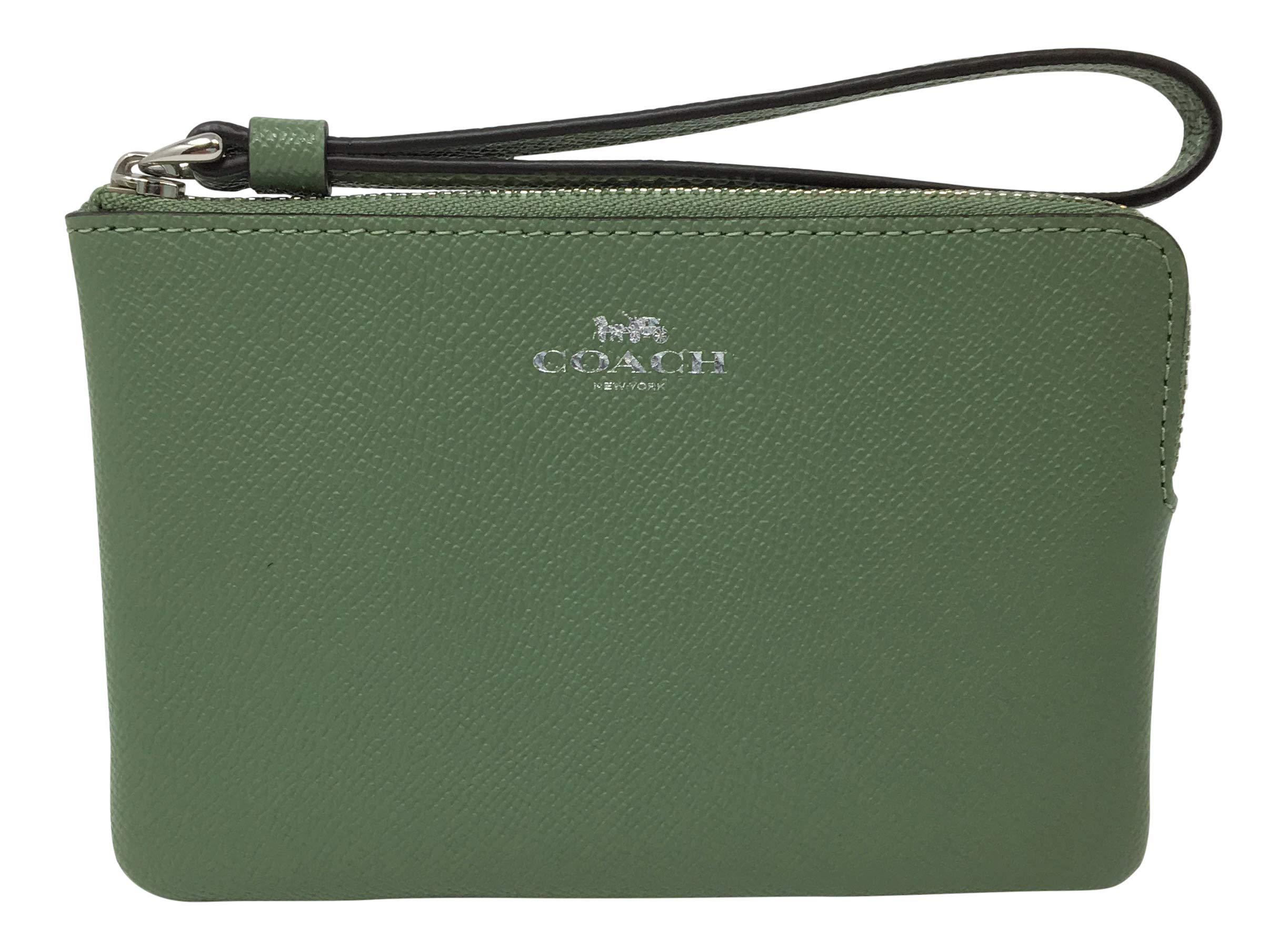 Coach Crossgrain Leather Corner Zip Small Wristlet Clover F58032