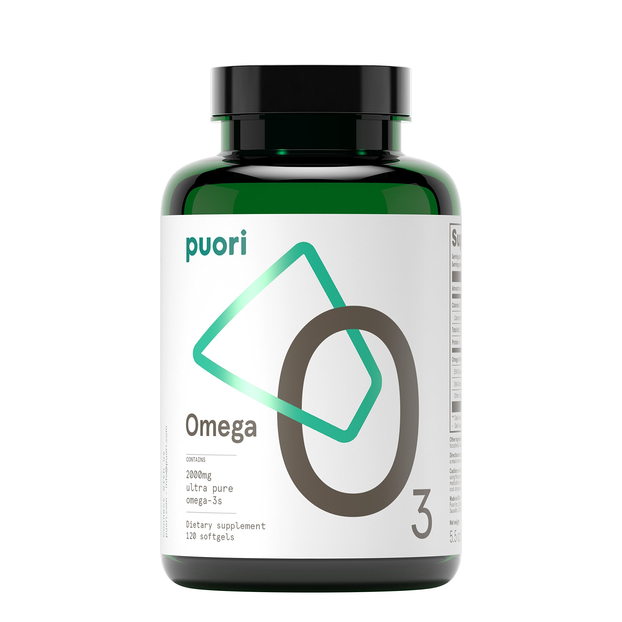 Puori - O3 Ultra Pure Omega 3 Fish Oil, IFOS Certified, Non-GMO, 2000mg EPA 1250mg DHA 500mg, 120 Softgel