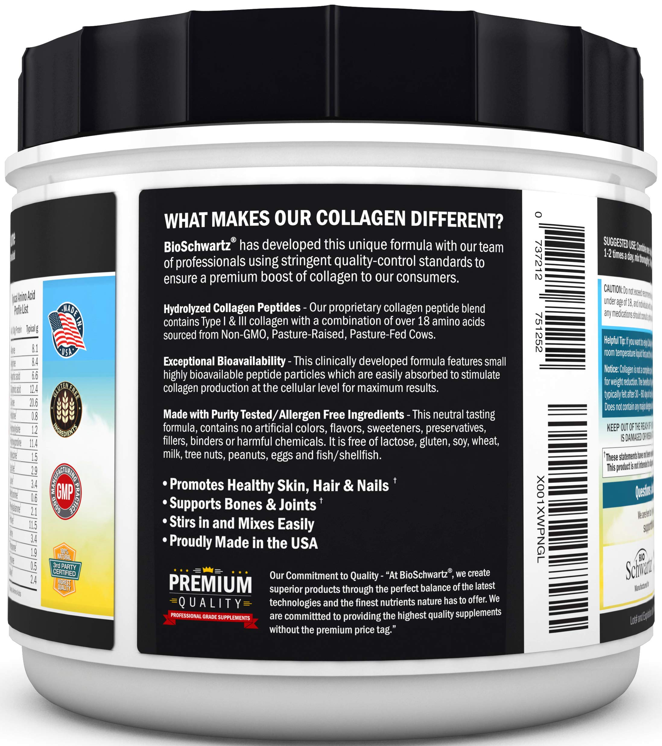 Collagen Peptides Protein Powder - Grass Fed, Pasture Raised with Aminos - Promotes Healthy Skin Hair & Nails - Bone & Joint Support - Hydrolyzed, Unflavored, Non GMO, Gluten Free - Easy to Mix -16 oz by BioSchwartz (Image #4)