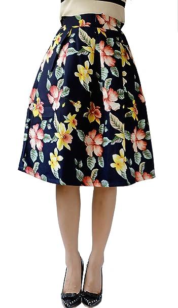 YSJ Mujer Cintura Alta a-line plisado impresión OL de flores de ...