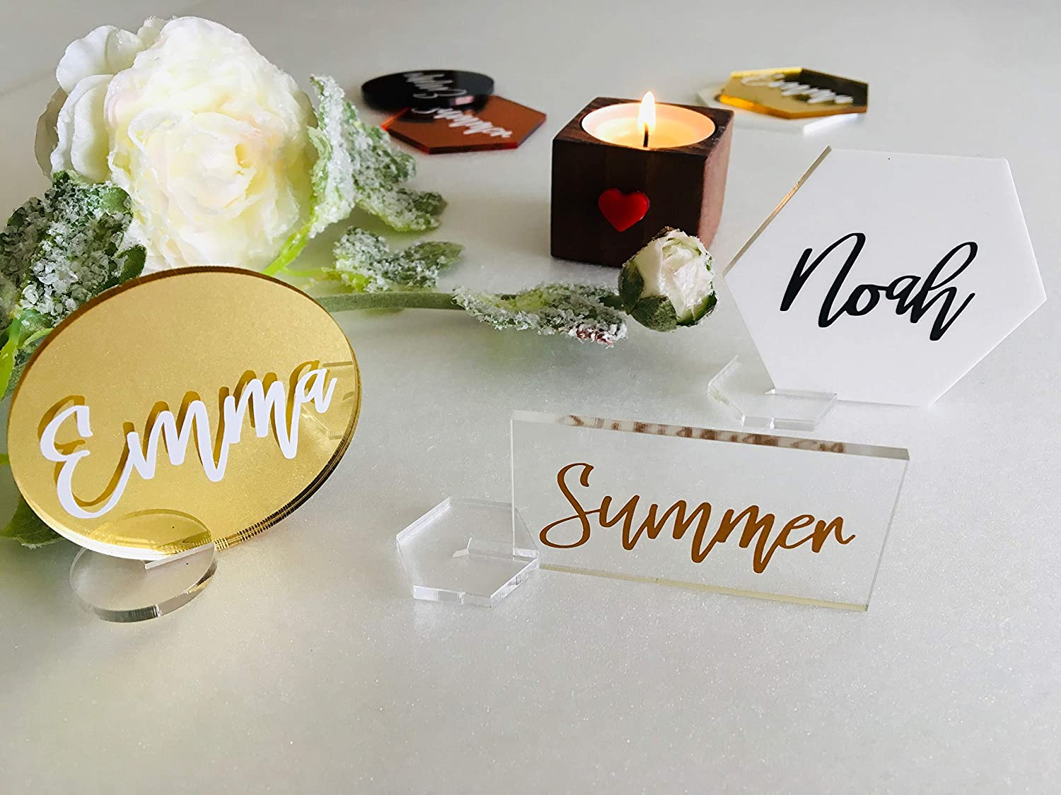Rose Gold Mirror Names Guest Names Laser Cut Names Wedding table cards Place cards Rose Gold Mirror Names Wedding centerpiece names