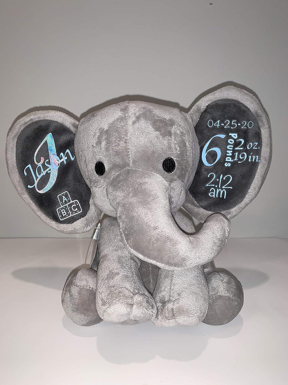 Personalized Stuffed Birth Stat Elephant Birth Announcements Stuffed Animal Birth Announcement Elephant Personalized Elephant Stuffed Animal Birth Stat Elephant Birth Stats Stuffed Animal