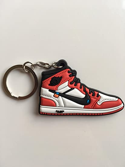 2e6414f4b708 Amazon.com   Jordan Retro 1 OG X Off-White Chicago Sneaker Keychain Shoes  Keyring AJ 23   Sports   Outdoors