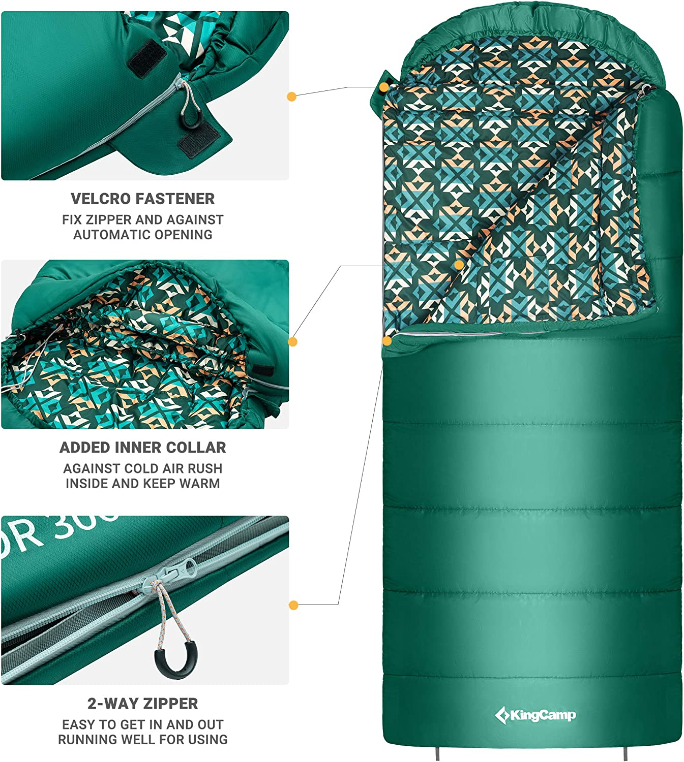 KingCamp SUPERIOR 3-4 Season L//XL Sleeping Bag Oversize Waterproof for Adult Camping Hiking Outdoor Overnight
