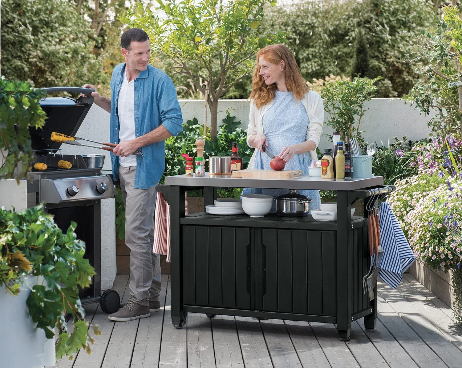 Amazon Com Keter Unity Xl Portable Outdoor Table And Storage Cabinet With Hooks For Grill Accessories Stainless Steel Top For Patio Kitchen Island Or Bar Cart Dark Grey Garden Outdoor