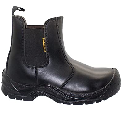 6d961b3050a Max Steel MENS BLACK LEATHER SAFETY TOE CAP CHELSEA DEALER BOOTS WORK SHOES  TRAINERS SIZES 6