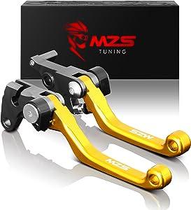 MZS Pivot Levers Brake Clutch CNC Compatible with Suzuki RMZ250 2004/ RMZ250 2007-2018/ RMZ450 2005-2018 (Gold)