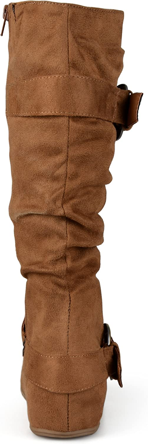 Journee Collection Womens Extra Wide Calf Slouch Buckle Knee High Boots