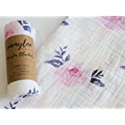 Muslin Swaddle Blanket Girl - Floral Design, Baby Shower Gift