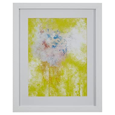 Modern Yellow Abstract Print Wall Art, White Frame, 18  x 22