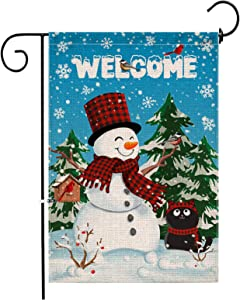 Hexagram Snowman Winter Garden Flag Vertical Double Sided,Burlap Winter/Christmas Holiday Garden Flag 12 x 18 inch, Funny Black Cat Flags Outdoor Yard Decorations