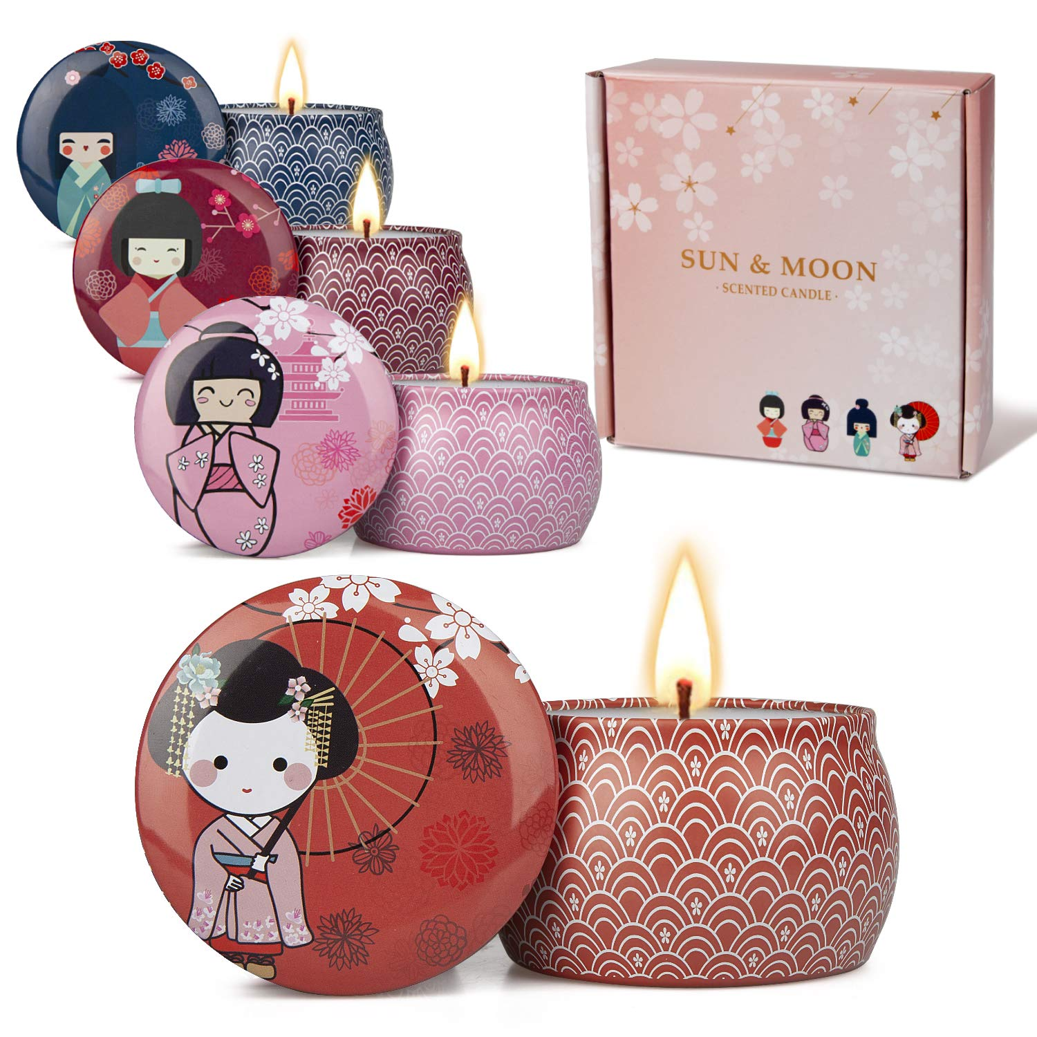 Y YUEGANG Memoirs of a Geisha Scented Candles Aromatherapy Japanese Gifts for Women Fragrance Candle Set Travel Tin Natural Soy Wax Essential Oils Stress Relief Relaxation Birthday
