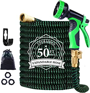 "Garden Hose Expandable, 50ft Leakproof Garden Hose with 10 Functions Nozzle, Flexible Water Hose with Durable 3-Layers Latex Core, 3/4"" Solid Brass Fittings, Premium 3750D Fabric"