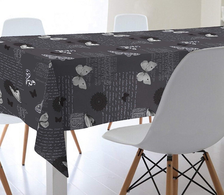 Mantel de Hule 100% PVC con Base de algodón. Estampado Mariposas. Colores Gris, Blanco y Negro (140_x_100_cm): Amazon.es: Hogar