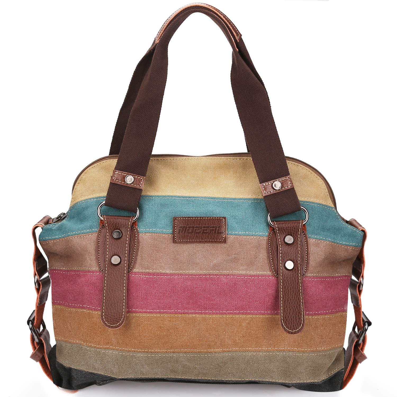 Moceal Multi Color Striped Canvas Damen HandtascheUmhängetasche Canvas Tasche Shopper Hobo Bag