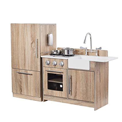 Teamson Kids - Little Chef Chelsea Modern Play Kitchen - Cherry Grain/Silver
