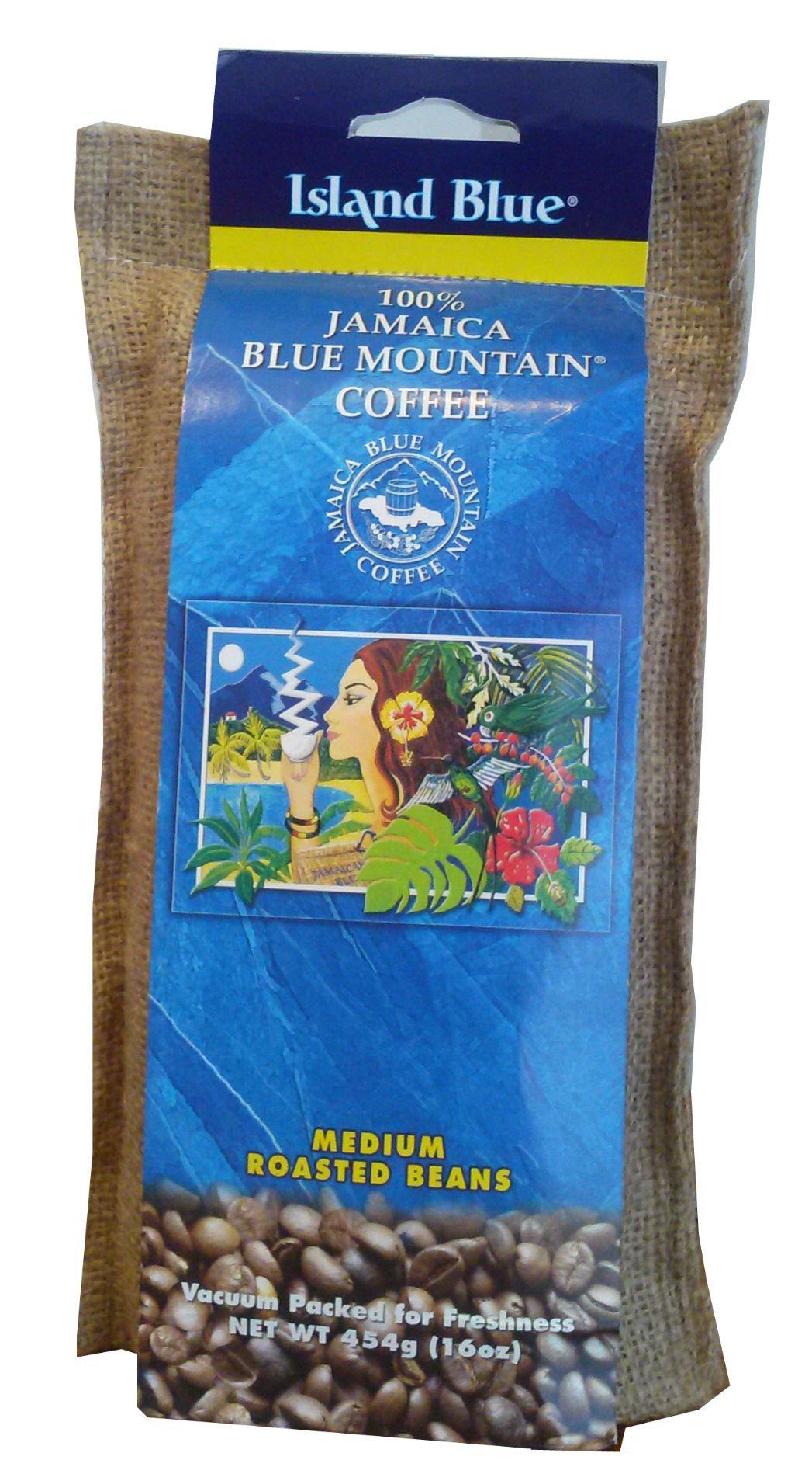 Island Blue 100% Jamaica Blue Mountain Whole Beans Coffee (16oz) by Blue island
