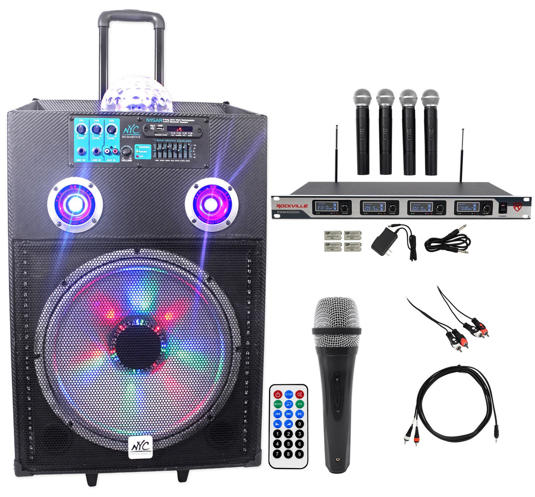 NYC Acoustics Powered 15'' Karaoke Machine/System 4 ipad/iphone/Android/Laptop/TV
