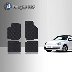 TOUGHPRO Floor Mat Accessories Set (Front Row+2nd Row) Compatible With VW Beetle - All Weather - Heavy Duty- Black Rubber - 1999, 2000, 2001, 2002, 2003, 2004, 2005, 2006, 2007, 2008, 2009, 2010, 2011