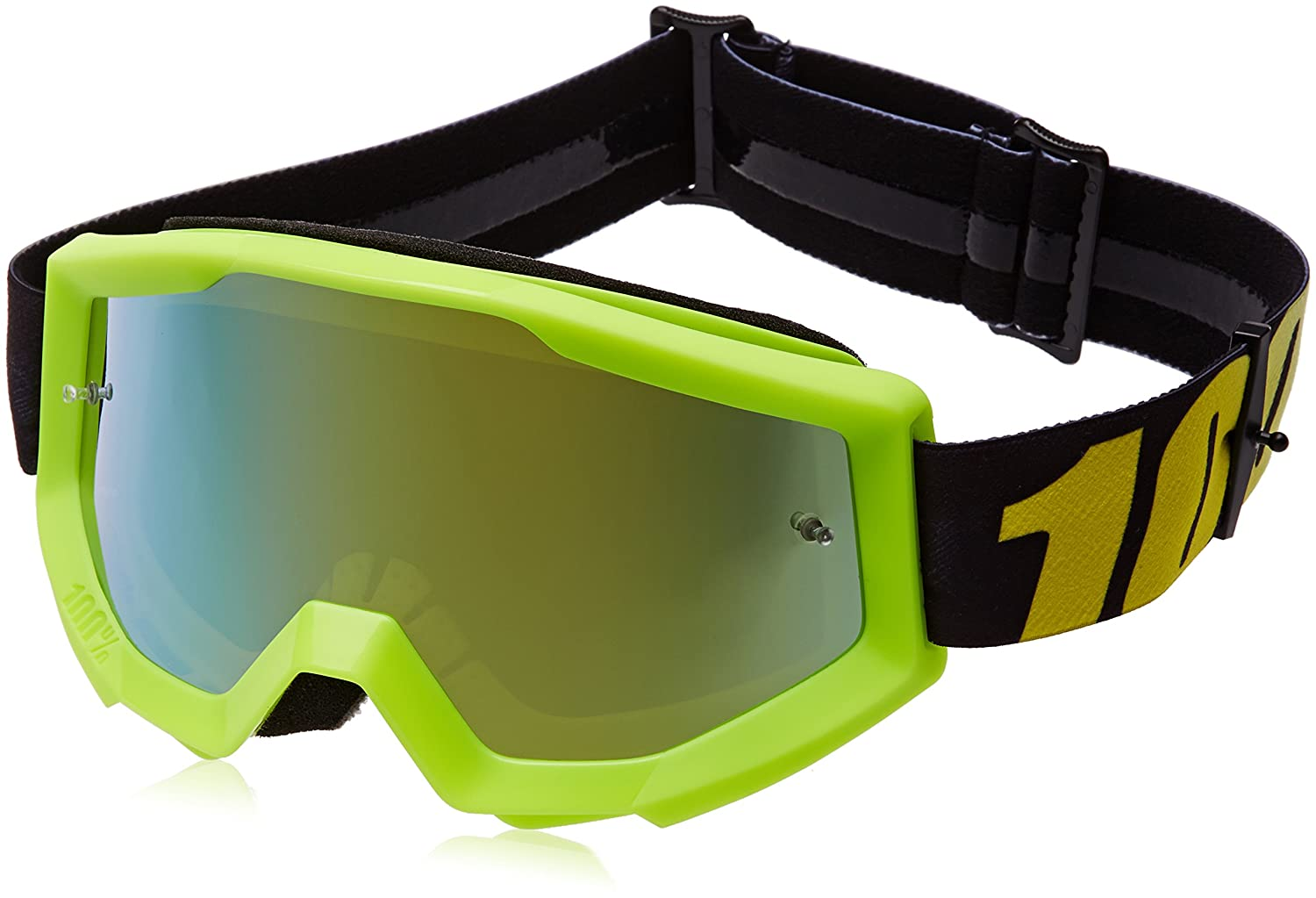 100% 50410-004-02 unisex-adult Goggle (Yellow, Mirror Gold, One Size) (STRATA MX STRATA N Yellow Mirror Lens Gold)