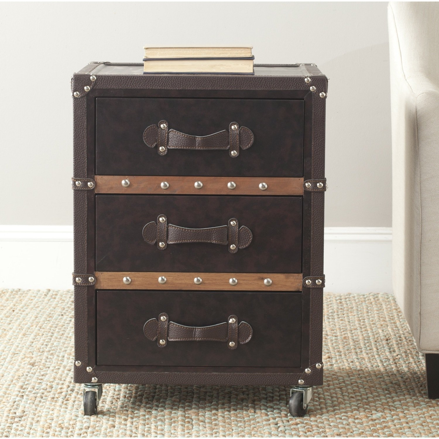 Safavieh Home Collection Norman Black, Brown & Silver 3 Drawer Rolling Chest