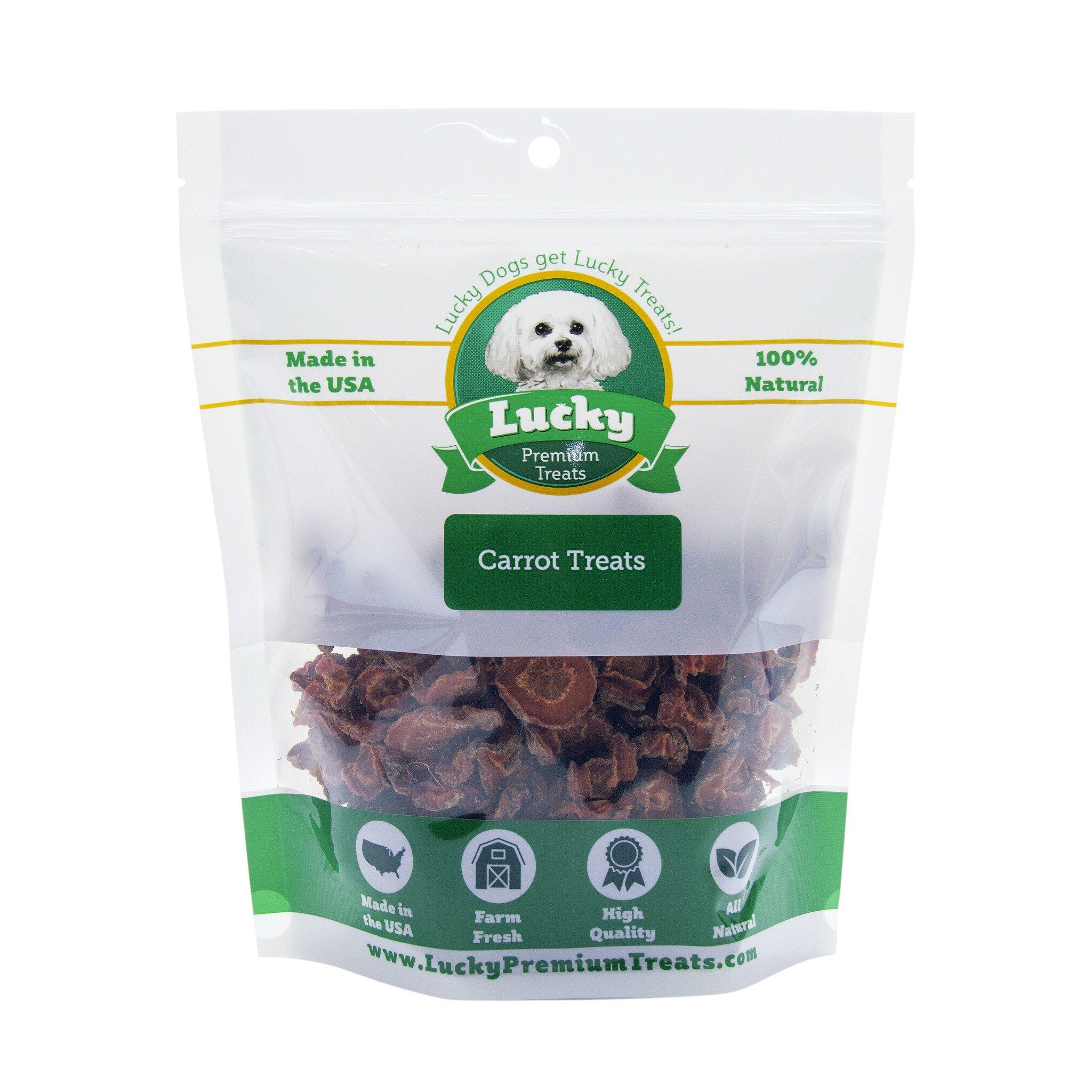Carrot Medallion Dog Treats - Dehydrated Carrots Sliced into Medallions - Farm Fresh and Made in the USA Treats by Lucky Premium Treats