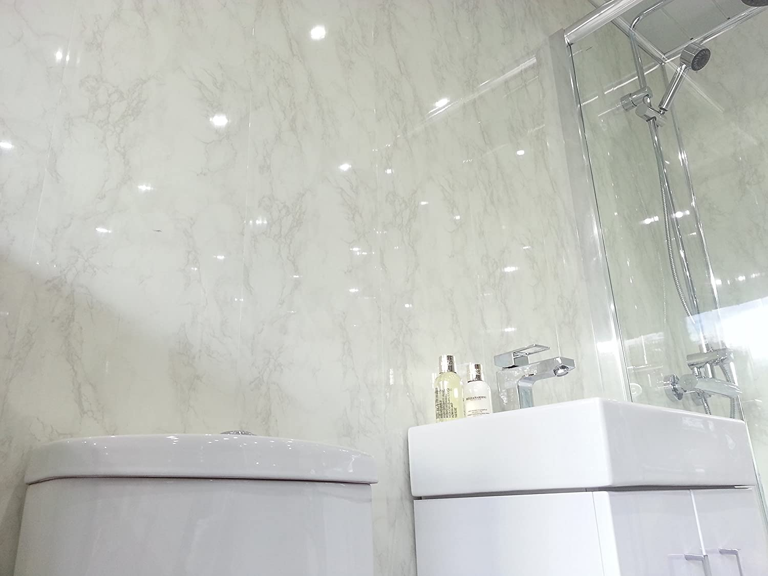 5 White Marble Marble PVC Bathroom Cladding Shower Wall Panels ...