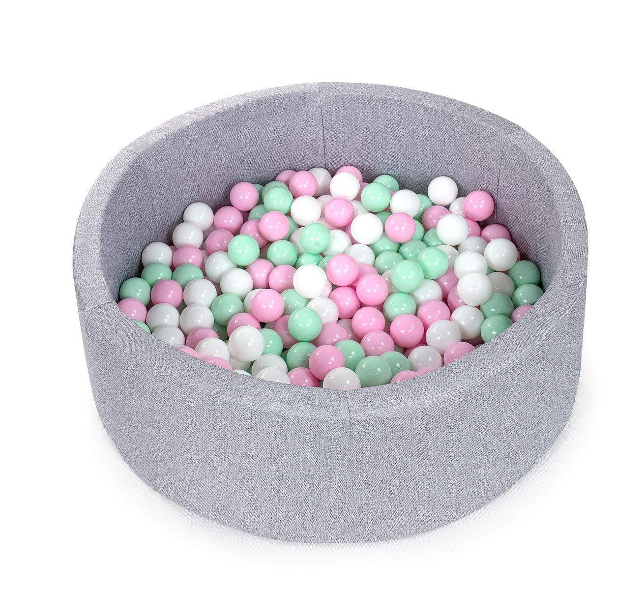 Tweepsy B/éb/é Piscine A Balles pour Enfants Bambin 250 Balles 90x30cm Rond Fabriqu/é en EU Piscine Gris Clair: Blanc Gris BKOZN3N