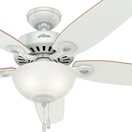 Hunter Fan 52 inch Traditional White Ceiling Fan with White Snowflake Light Kit, 5 Blade Certified Refurbished