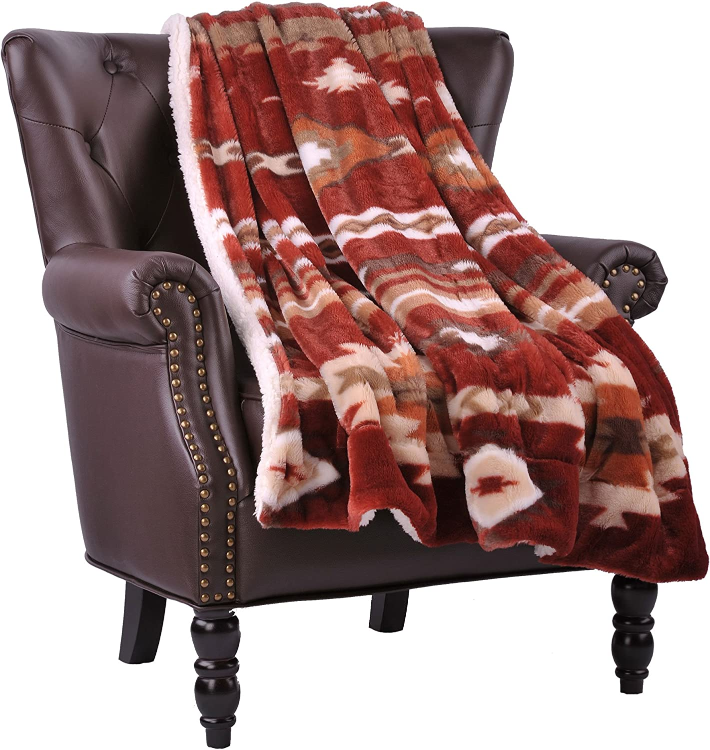 """Home Soft Things Southwest Throw Blanket 50"""" x 60"""" Brick Red"""