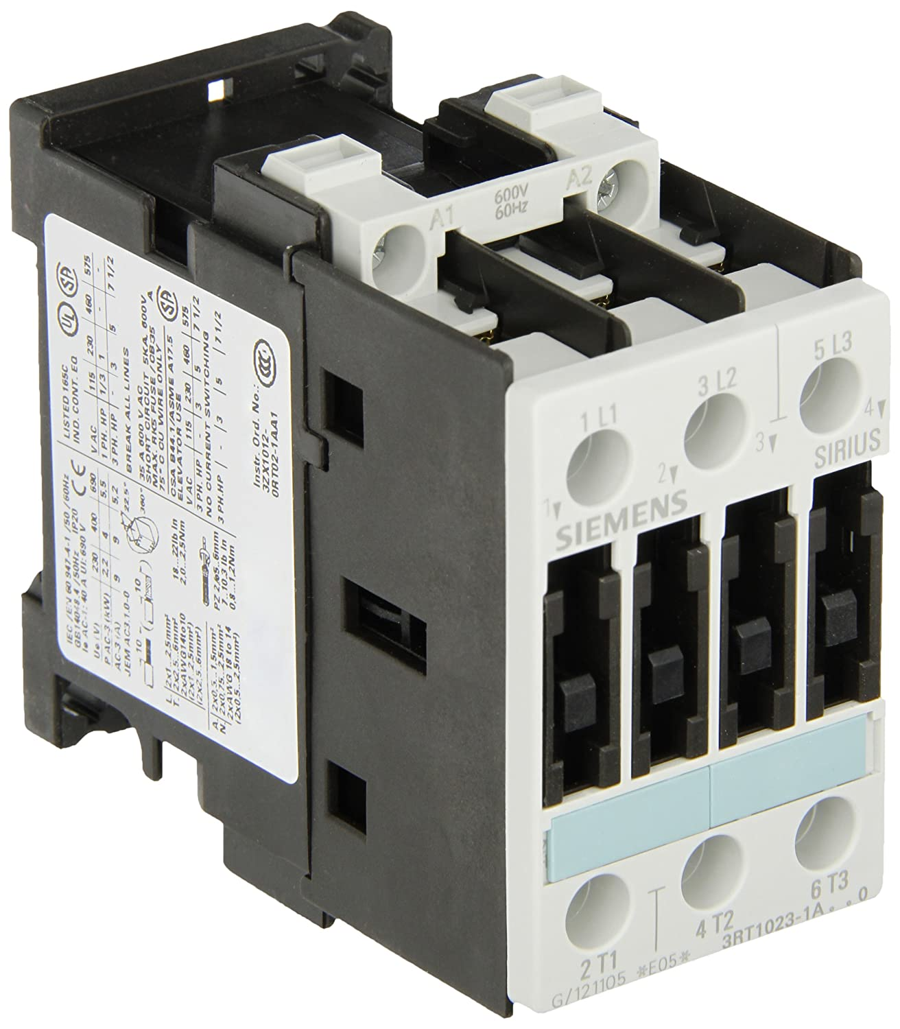 Siemens 3RT10 23-1AT60 Motor Contactor 3 Poles Screw Terminals S0 Frame Size 600V at 60Hz AC Coil Voltage 3RT10231AT60