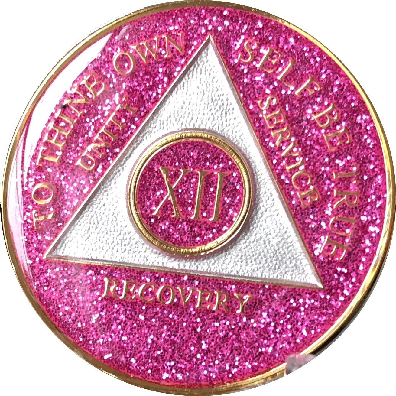 12 Year AA Medallion Glitter Pink Tri-Plate Chip XII