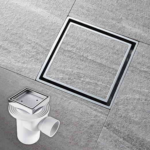 Drenaje oculto para el desagüe de la ducha, sistema de desagüe cuadrado de latón, desagüe de gran desplazamiento para la ducha, para el baño y el jardín, diseño desmontable anti-obstrucción: Amazon.es: Jardín