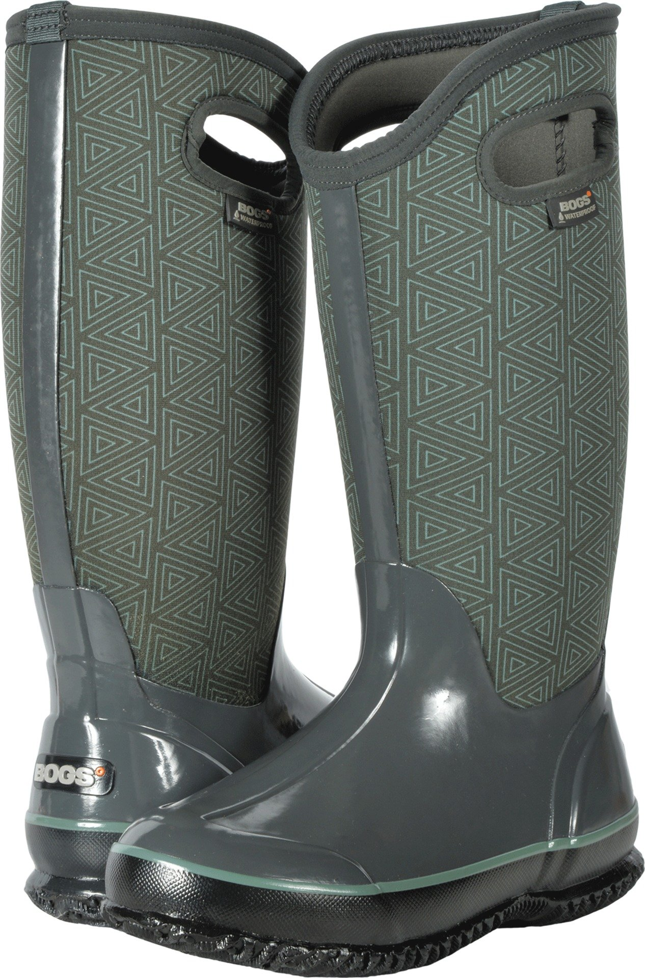 Bogs Women's Classic Triangles Snow Boot, Dark Gray Multi, 7 M US