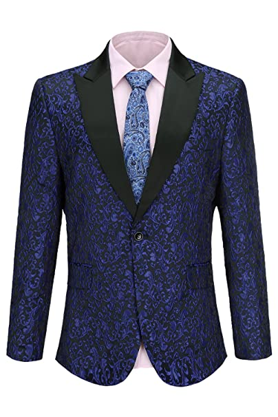 6dd6e40e64 Fisoul Uomo Slim Fit Risvolto Risvolto Casual One Button Abiti Formali  Giacca da Smoking Blazer D'affari Outwear