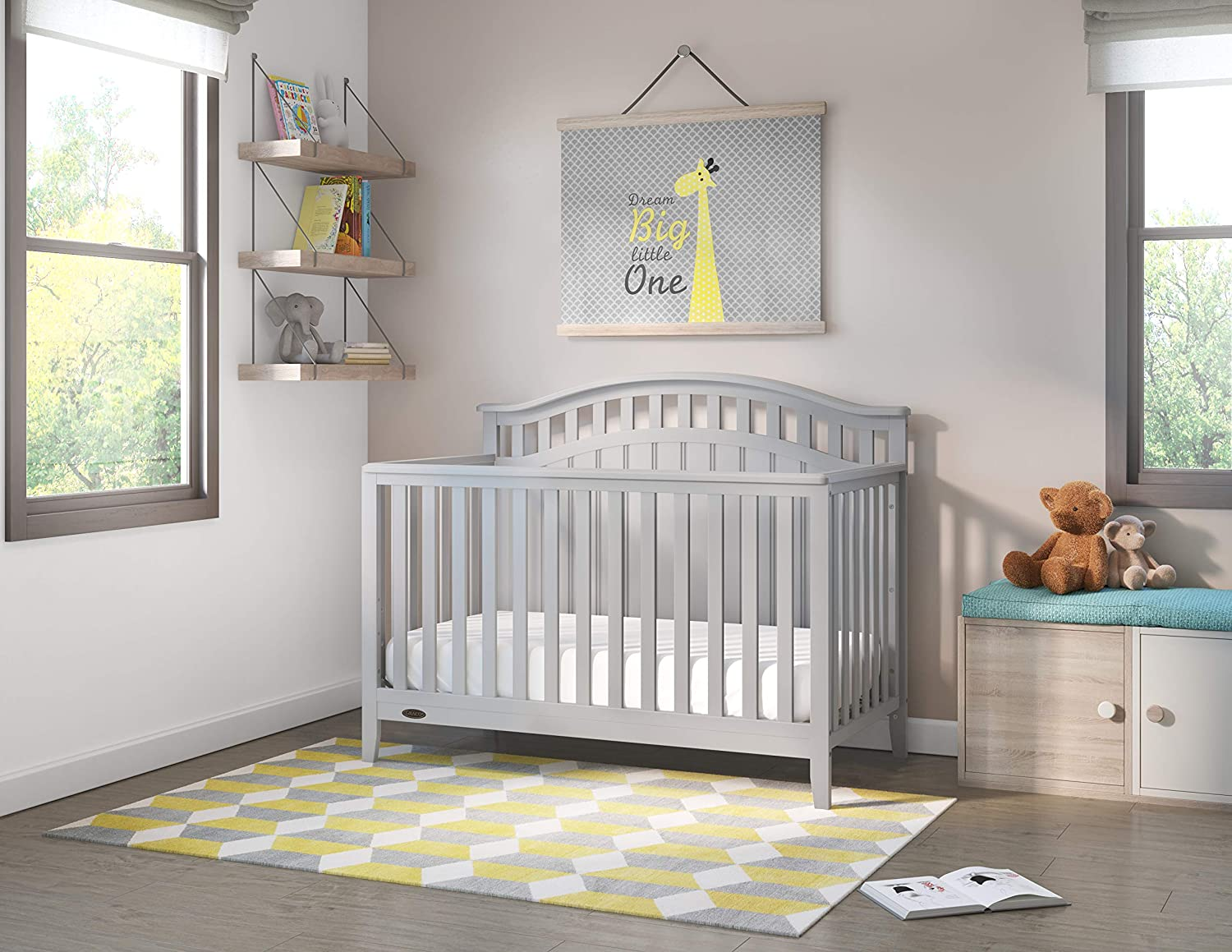 Mattress Not Included Graco Harper 4-in-1 Convertible Crib with Drawer Easily Converts to Toddler Bed Day Bed or Full Bed,Three Position Adjustable Height Mattress,Some Assembly Required Pebble Gray