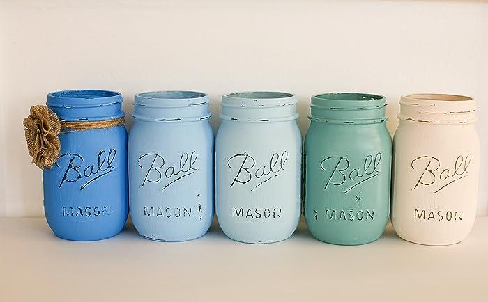 Peachy Amazon Com Painted Distressed Mason Jars Blues And Cream Download Free Architecture Designs Boapuretrmadebymaigaardcom