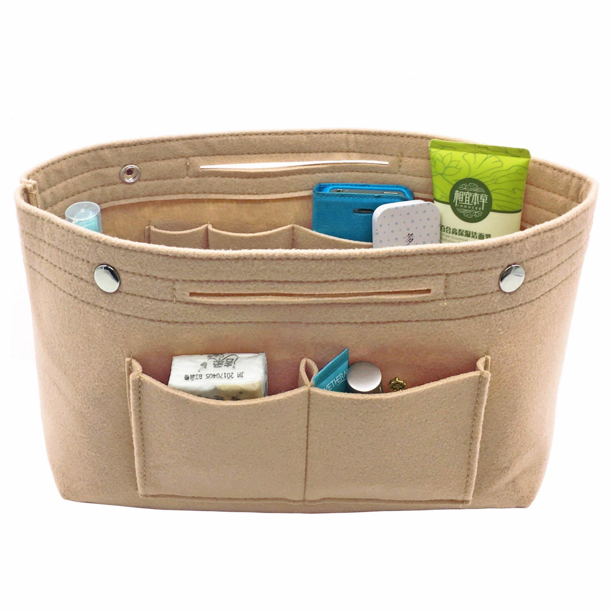 eeff9564a266 VANCORE Felt Insert Purse Organizer Handbag Cosmetic Travel Bag for Women  Nude Small