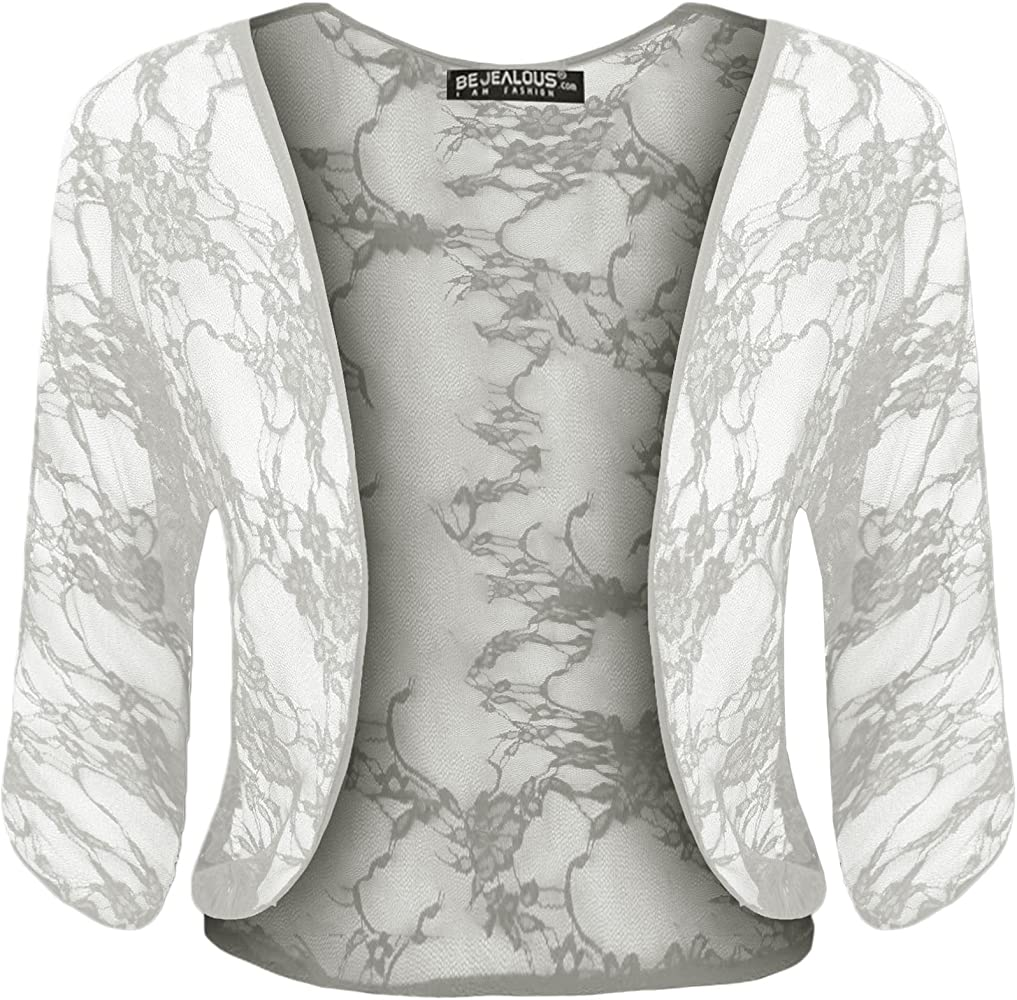 Womens Ladies Lace See Through Batwing Short Sleeve Open Front Bolero Crop Shrug