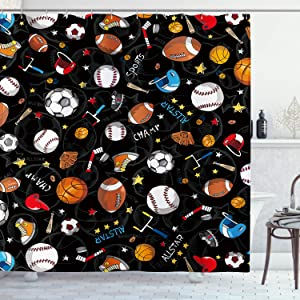 AMBZEK Kid Sports Shower Curtain Boys Children Teens Game Baseball Basketball Football Hockey Star Artwork Cloth Fabric Bathroom Decor Set with 12 Pack Hooks 60x71 inch, Black Yellow