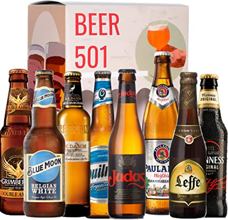 Pack de cervezas degustación BEER 501 - Caja INTERNACIONAL: Grimbergen, Blue Moon, A.K Damm, Quilmes, Judas, Paulaner, Leffe y Guinness I La mejor selección de cervezas para regalar y disfrutar.: Amazon.es: Alimentación