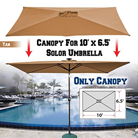 fb0b3bb1c8db BenefitUSA Replacement Umbrella Canopy Top Cover for 10 ft x 6.5 ft 6 ribs  Patio Umbrella Outdoor Market (Canopy Only) (Tan)
