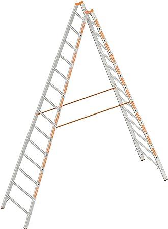 Layher 1039014 espalderas Topic, escalera aluminio escalera 2 x 14 peldaños, ambos lados, plegable, longitud 4.10 M: Amazon.es: Bricolaje y herramientas