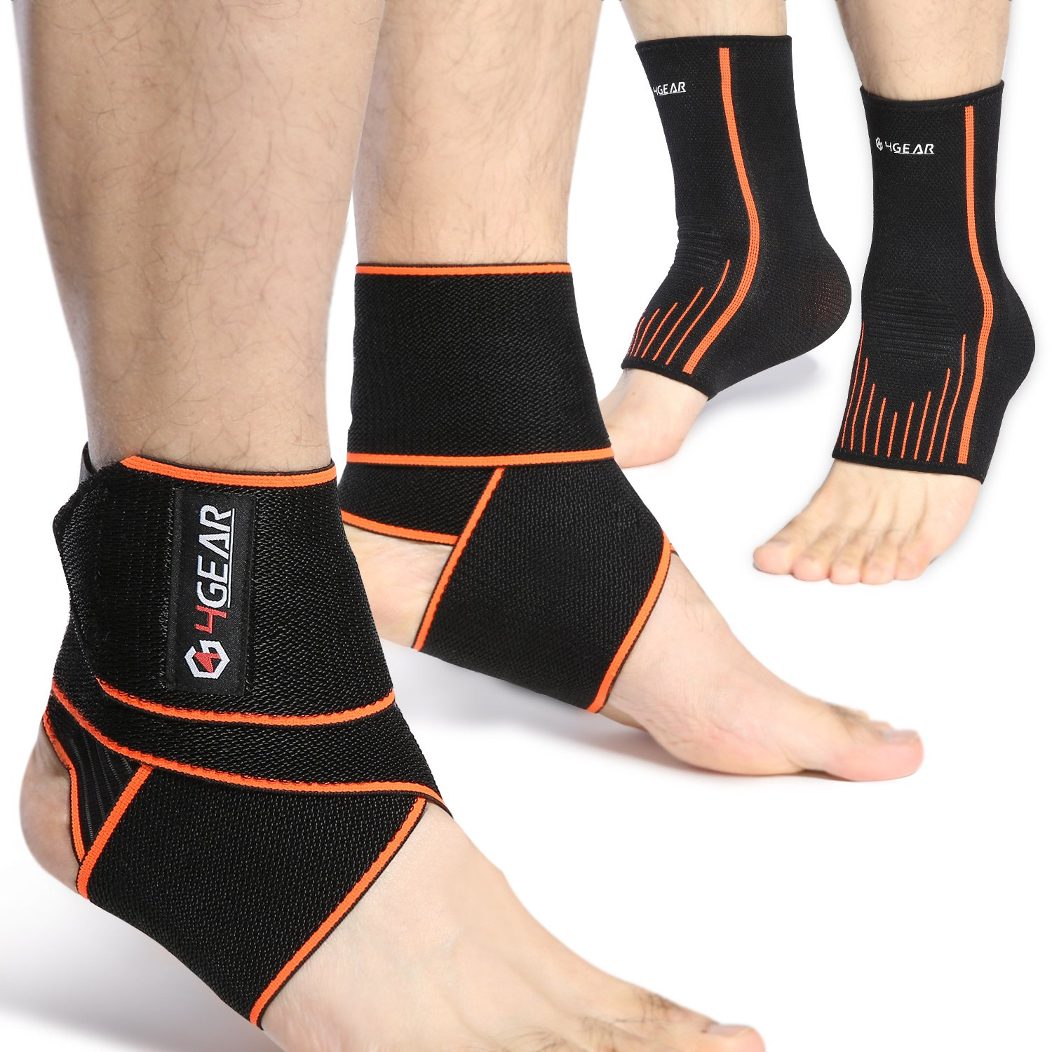 Ankle Support Kit - 4 Pack - Ankle Brace Straps (1 Pair) & Ankle Compression Sleeves with Arch Supports (1 Pair) - Best for Sports Protection, Injury Recovery, Reduce Swelling, Ankle Strain (Large)
