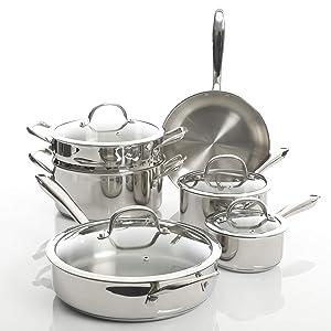 Kenmore Devon Stainless Steel Cookware Set, 10-Piece