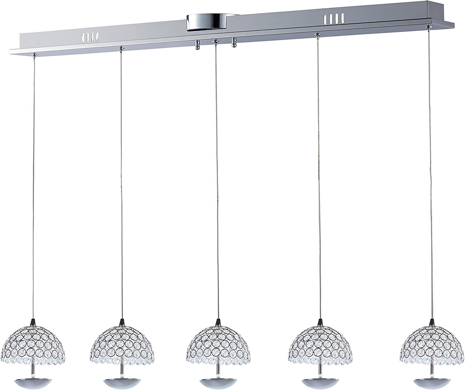 Rated Lumens ET2 E24495-20PC Parasol 5-Light LED Multi-Light Pendant Polished Chrome Finish Shade Material Low-Voltage Electronic Dimmer 6W Max. LED Bulb Crystal Glass Dry Safety Rated