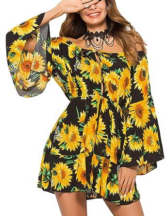 30f96bab823 Ailunsnika Women Summer Black Sun Flower Off Shoulder Slash Neck Floral  Print Mini Dresses Flare Sleeve