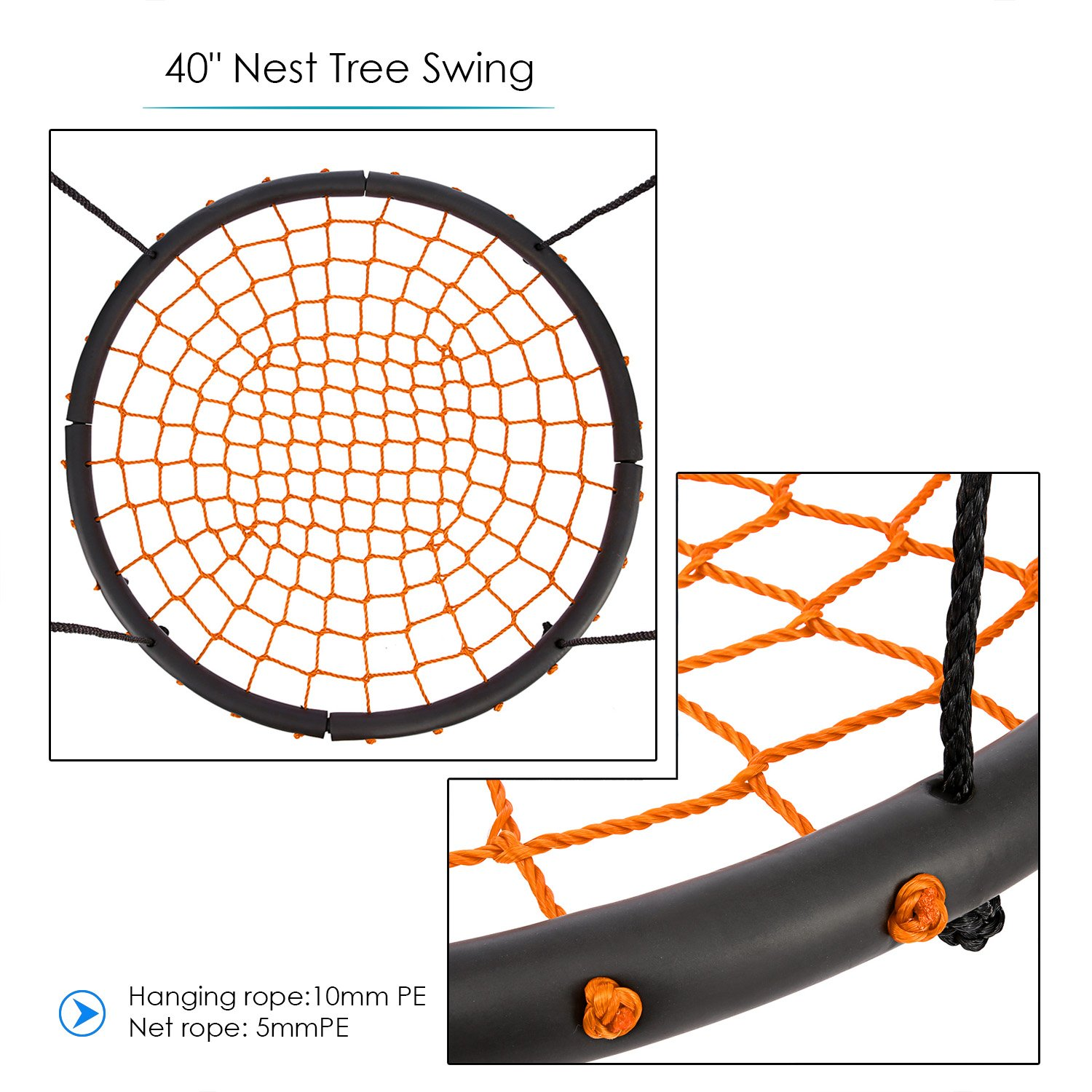 Swing Set Great for Tree Backyard ANCHEER Round Web Swing 40 inch Spinner Swing with Adjustable Rope Playground Playroom